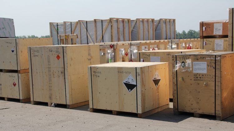 Photo of boxed cargo.